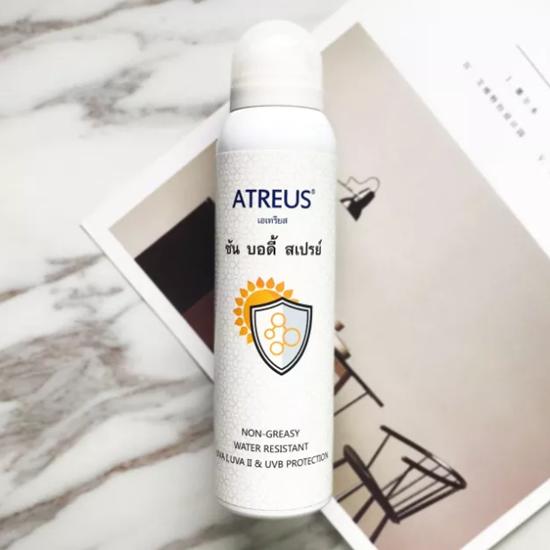 ATREUS牛奶美白防晒喷雾,无油、防汗水、隔离、防UVA I、UVA II和UVB